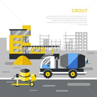 Digital vector black construction building tracks icons with drawn simple line art info graphic, presentation with crane, road, grout, excavator and cement elements around promo template, flat style - frimufilms.com