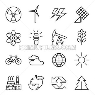 Digital vector black ecology icons with drawn simple line art info graphic, presentation with recycle, production and alternative energy circuit elements around promo template, flat - frimufilms.com