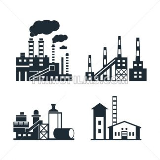 Digital vector black factory pollution icons with drawn simple line art info graphic, presentation with plant, smoke, environment and energy elements around promo template, flat style - frimufilms.com