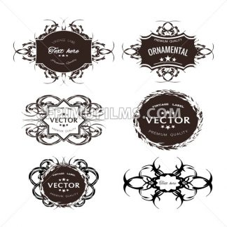 Digital vector black floral ornament stickers collection, ribbon and badges, tags with text, premium quality, vintage frame, flat style icon - frimufilms.com
