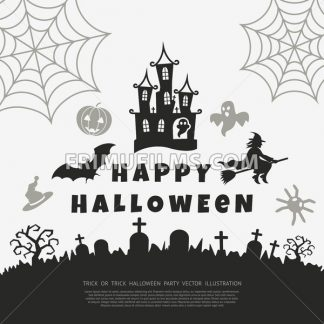 Digital vector black happy halloween icons with drawn simple line art info graphic, presentation with bats, cat and cemetery elements around promo template, flat style - frimufilms.com