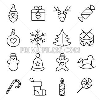 Digital vector black happy new year icons with drawn simple line art info graphic, presentation with toys and gifts elements around promo template, flat style - frimufilms.com