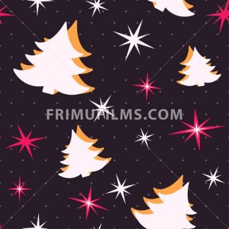 Digital vector black happy new year merry christmas icons with drawn simple line art info graphic, seamless pattern, presentation with tree and stars elements around promo template, flat style - frimufilms.com
