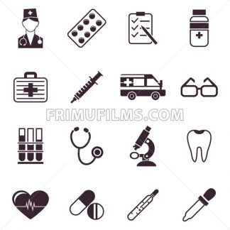 Digital vector black medical icons with drawn simple line art info graphic, ambulance tooth pills nurse heart tubes syringe medicine dropper first aid thermometer, flat style - frimufilms.com