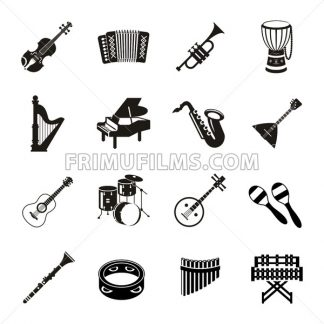 Digital vector black music instruments icons with drawn simple line art info graphic, presentation with guitar, piano, drums and sound elements around promo template, flat style - frimufilms.com