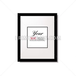 Digital vector black quote frames box blank template with print information design icon, empty citation, flat style - frimufilms.com