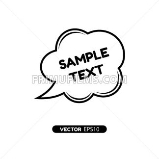 Digital vector black quote frames bubble blank template with print information design icon, empty citation, flat style - frimufilms.com