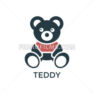 Digital vector black red big teddy bear children toy icons with drawn simple line art info graphic, promo template, flat - frimufilms.com