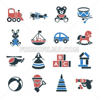 Digital vector black red children toys icons with drawn simple line art info graphic, presentation with bear, plane and bunny elements around promo template, flat - frimufilms.com