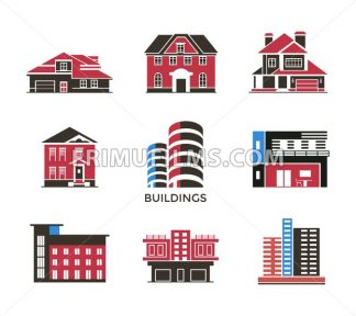Digital vector black red city buildings icons with drawn simple line art info graphic, presentation with bank, shop and business centre elements around promo template, flat style - frimufilms.com