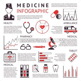 Digital vector black red pharmacy medical icons set with drawn simple line art info graphic promo poster, ambulance tooth pills nurse heart tubes syringe medicine first aid hospital, flat style - frimufilms.com