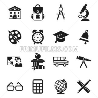 Digital vector black school icons infographics with drawn simple line art, telescope map globe hat bell clock pen ruler book apple girl boy pupil brush calculator bus building bag, flat style - frimufilms.com