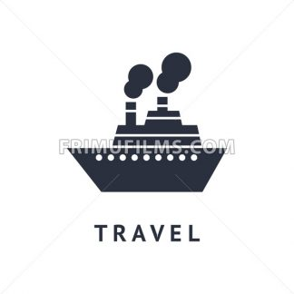 Digital vector black travel boat transport icon with drawn simple line art, flat style - frimufilms.com