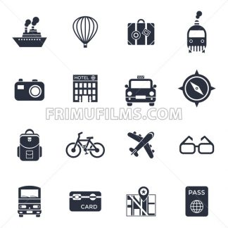 Digital vector black travel icons set with drawn simple line art info graphic poster promo, ship boat camera balloon luggage compass air plane map globe taxi card hotel bicycle free, flat style - frimufilms.com