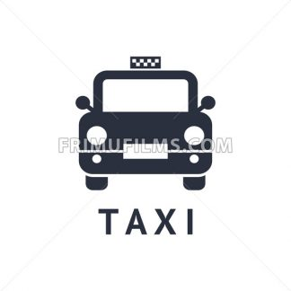 Digital vector black travel taxi transport car icon with drawn simple line art, flat style - frimufilms.com