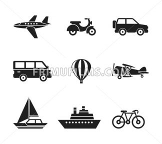 Digital vector black travel transport icons set with drawn simple line art info graphic, presentation with car, plane and vehicle elements around promo template, flat style - frimufilms.com