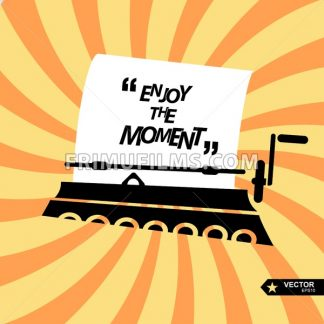 Digital vector black yellow, taping machine and paper, quote frames box blank template with print information design icon, enjoy the moment citation, flat style - frimufilms.com