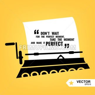 Digital vector black yellow, taping machine and paper, quote frames box blank template with print information design icon, take the moment citation, flat style - frimufilms.com