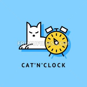 Digital vector blue and yellow lazy cat sitting with clock, drawn simple line art, flat style - frimufilms.com