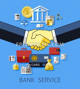 Digital vector blue business icons with drawn simple line art info graphic, card calculator wallet bank envelope promo balance email money chart bag service hands shake, flat style - frimufilms.com