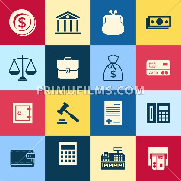 Digital vector blue business icons with drawn simple line art info graphic, presentation with 16 economy elements in squares around promo template, flat style - frimufilms.com
