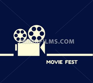 Digital vector blue cinema icon with drawn simple line art info graphic, presentation with old camera projecting movie fest promo template, flat style - frimufilms.com