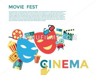 Digital vector blue cinema icons with drawn simple line art info graphic, presentation with movie fest, fun and  mask elements around promo template, flat style - frimufilms.com