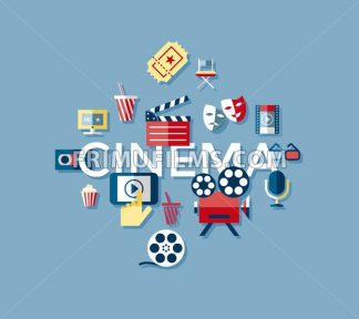 Digital vector blue cinema icons with drawn simple line art info graphic, presentation with screen, movie and old camera elements around promo template, flat style - frimufilms.com