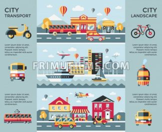 Digital vector blue city landscape transport icons with drawn simple line art info graphic, presentation with car, boat and urban building elements around promo template, round frame, flat style - frimufilms.com