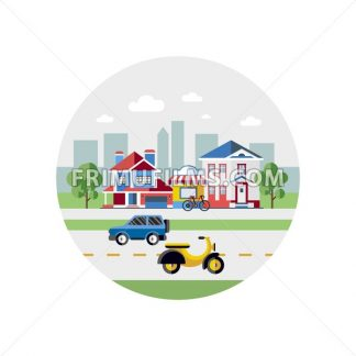 Digital vector blue city transport icons with drawn simple line art info graphic, presentation with car, motorcycle and shop building elements around promo template, round frame, flat style - frimufilms.com
