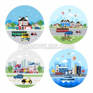 Digital vector blue city transport icons with drawn simple line art info graphic, presentation with car, motorcycle and urban building elements around promo template, round frame, flat style - frimufilms.com
