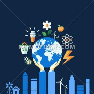 Digital vector blue ecology icons with drawn simple line art info graphic, hand holding planet earth, presentation with recycle, alternative energy elements around promo poster template, flat style - frimufilms.com