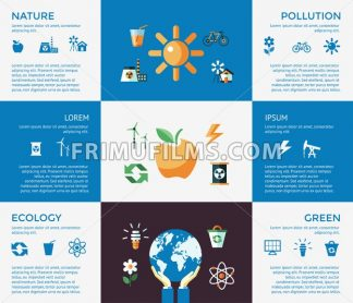 Digital vector blue ecology icons with drawn simple line art info graphic, presentation with recycle, production and alternative energy elements around promo template, flat style - frimufilms.com