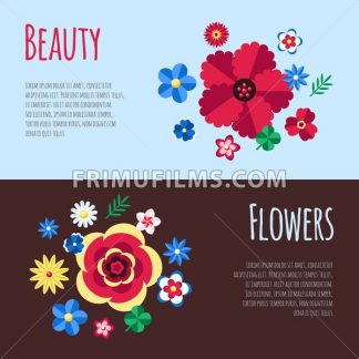 Digital vector blue flowers set icons with drawn simple line art info graphic, presentation with petals, beauty branch and floral elements around promo template, flat style - frimufilms.com