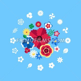 Digital vector blue flowers set icons with drawn simple line art info graphic, presentation with petals, branch and floral elements around promo template, flat style - frimufilms.com