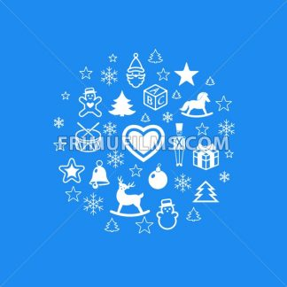 Digital vector blue happy new year icons with drawn simple line art info graphic, presentation with toys and gifts elements around promo template, flat style - frimufilms.com
