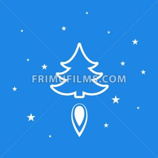 Digital vector blue happy new year merry christmas icon with drawn simple line art, fir tree with fire spark and stars promo template, flat style - frimufilms.com