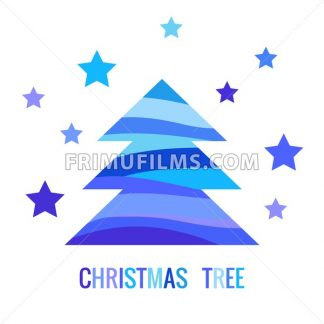 Digital vector blue happy new year merry christmas icon with drawn simple line art, fir tree with stars promo template, flat style - frimufilms.com