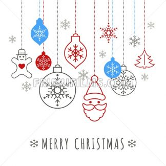 Digital vector blue happy new year merry christmas icons with drawn simple line art info graphic, presentation with toys and gifts elements around promo template, flat style - frimufilms.com