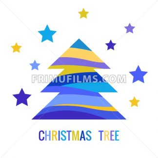 Digital vector blue happy new year merry christmas icons with drawn simple line art info graphic, presentation with tree and stars elements around promo template, flat style - frimufilms.com