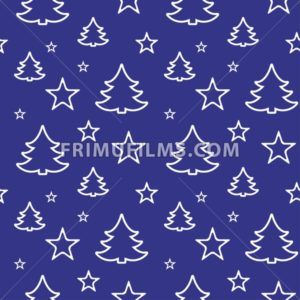 Digital vector blue happy new year merry christmas icons with drawn simple line art info graphic, seamless pattern, presentation with tree and stars elements around promo template, flat style - frimufilms.com