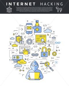 Digital vector blue internet security data protection icons set drawn simple line art info graphic poster, hacker user bug vulnerability mobile email trojan malware bank cloud spy intercept mask, flat - frimufilms.com