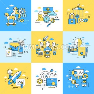 Digital vector blue internet security data protection icons set drawn simple line art info graphic poster, hacker user bug vulnerability mobile email trojan malware bank cloud spy intercept mask, flat - frimufilms.com