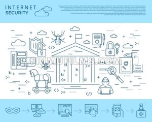 Digital vector blue internet security data protection icons set drawn simple line art info graphic poster, hacker user bug vulnerability mobile email trojan malware bank cloud spy mask, flat - frimufilms.com