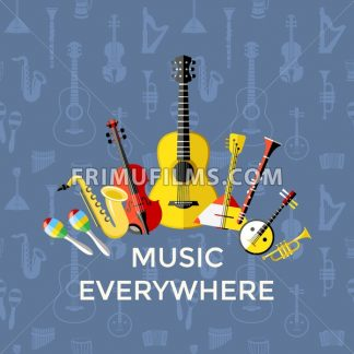Digital vector blue music everywhere instruments icons with drawn simple line art info graphic, presentation with guitar, piano, drums and sound elements around promo template, flat style - frimufilms.com