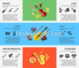 Digital vector blue music instruments icons with drawn simple line art info graphic, presentation with guitar, piano, drums and sound elements around promo template, flat style - frimufilms.com