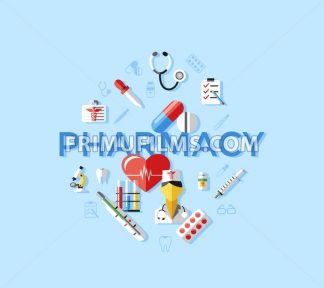 Digital vector blue pharmacy medical icons set with drawn simple line art info graphic, ambulance tooth pills nurse heart tubes syringe medicine dropper first aid thermometer, flat style - frimufilms.com