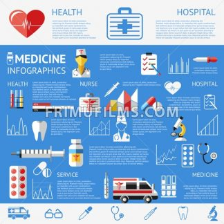 Digital vector blue pharmacy medical icons set with drawn simple line art info graphic poster promo, ambulance tooth pills nurse heart syringe medicine dropper first aid hospital, flat style - frimufilms.com