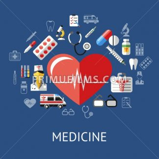 Digital vector blue red big heart pharmacy medical icons set with drawn simple line art info graphic, ambulance tooth pills nurse tubes medicine dropper first aid thermometer hospital, flat style - frimufilms.com