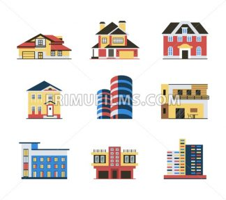 Digital vector blue red city buildings icons with drawn simple line art info graphic, presentation with bank, shop and business centre elements around promo template, flat style - frimufilms.com